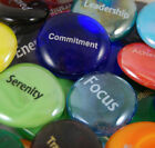 Colored Glass Focus Imprinted Stones - Words A thru D