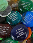 Colored Glass Imprinted Christian Scripture Stones - Sayings F thru J