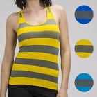 4 Colors Available Seamless Sport Stretch Striped Racerback Tank Top OS S M L