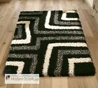 Black and Grey Shaggy Shag Pile Rug - Comes In 6 Sizes With Hall Runner - Sale!!