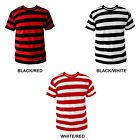 Mens Black White Red Striped Stripe Stripey T-shirt Choose Colour NEW S-XL