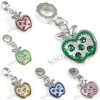 Wholesale Lot 10pcs Apple Silver CZ Dangle European Charm Beads For Bracelet