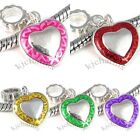 Wholesale Lot 10pcs Heart Silver Dangle European Spacer Charm Beads For Bracelet