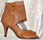 Peep-Toe-Booties*Open Toe Booties*Lasercut-Schaft*Cognac Braun*37 38 39 40*NEU