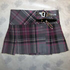 Great Gift: Girls 100% Wool Billie Kilt, Grey Purple LA Check