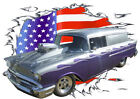 1957 Silver Chevy Blown Sedan Delivery Hot Rod USAT T-Shirt 57, Muscle Car Tee's