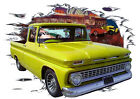 1963 Yellow Chevy Pickup Truck Custom Hot Rod Diner T-Shirt 63, Muscle Car Tee's