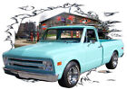 1968 Teal Chevy Pickup Truck Custom Hot Rod Garage T-Shirt 68,69 Muscle Car Tee