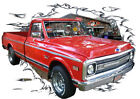 1970 Red Chevy Pickup Truck Custom Hot Rod Garage T-Shirt 70, Muscle Car Tee's