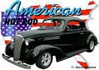 1937 Black Chevy Coupe Custom Hot Rod USA T-Shirt 37, Muscle Car Tee's