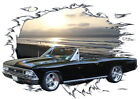 1966 Black Chevy Chevelle Convertible Hot Rod Sun Set T-Shirt 66, Muscle Car Tee