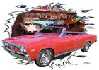 1967 Red Chevy Chevelle SS Convertible Hot Rod Diner T-Shirt 67, Muscle Car Tee