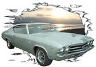 1969 Silver Chevy Chevelle SS Custom Hot Rod Sun Set T-Shirt 69, Muscle Car Tee
