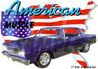1965 Blue Chevy Chevelle Custom Hot Rod USA T-Shirt 65, Muscle Car Tee's