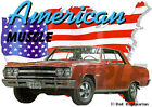 1965 Red Chevy Chevelle a Custom Hot Rod USA T-Shirt 65, Muscle Car Tee's