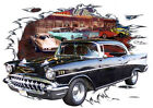 1957 Black Chevy Bel Air b Custom Hot Rod Diner T-Shirt 57, Muscle Car Tee's