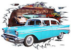1957 Blue Chevy 4 Door Sedan Custom Hot Rod Diner T-Shirt 57, Muscle Car Tee's