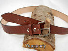 "Barsony Heavy Duty Genuine Burgundy Leather Basket Weave Belt 1.5"" Size 61-62"