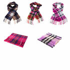 PURE Luxury 100% Cashmere Modern Check Tartan Scarf  NEW Made in Scotland