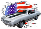 1970 Silver Oldsmobile 442 Custom Hot Rod USAT T-Shirt 70, Muscle Car Tee's