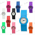 Kids Slap on silicone/rubber snap wrist sport watches bracelet