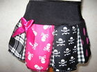 NEW Baby Girls Black,white,pink mixed skulls,tartan,spots cheerleader goth Skirt