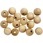 Natural Round Untreated Plain Wood Bead -Wooden Ball with hole 10mm - 35mm craft