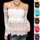 Vintage Sheer Lace Floral Off Shoulders Long Sleeves Babydoll Top Blouse
