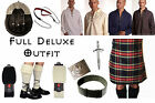 8 Yard Scottish Kilt Package, Complete Deluxe Casual Outfit Stewart Black Tartan