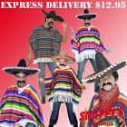 MENS/BOYS MEXICAN WESTERN PONCHO WILD WEST SMIFFFYS FANCY DRESS COSTUMES