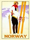 Norway Skis Ski Winter Sport Lady Skiing Vintage Poster Repro FREE SHIPPING