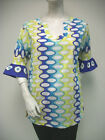 Tracy Negoshian Ann Tunic Top Blue Multi-Color 100% Cotton Style TN031 NEW NWT