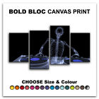 Skeleton MUSIC DJ & CLUB  Canvas Art Print Box Framed Picture Wall Hanging BBD