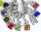 30pc18KGP Crystal Bail Dangle Charm Bead Fit European Bracelet A8629