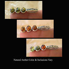 BALTIC HONEY GREEN or MULTICOLOR AMBER & STERLING SILVER 3-STONE MODERN  PENDANT