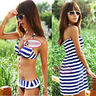 Sexy Nautical Stripes Push Up Bikini Set Cover Up Dress Bademode Badeanzug GW202