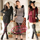 Fashion Fur Shoulder Leather Long Sleeves Mini Sweater Jumper Dress UJ519
