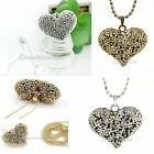 Free Ship Vintage Silver BronzeTone Hollow Heart Flower Pendant Chain Necklace
