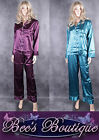 New Ladies Moon River Long Sleeved Satin Pyjamas Size S M L XL Purple Green