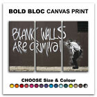 Blank Walls BANKSY Street  Canvas Art Print Box Framed Picture Wall Hanging BBD