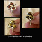 BALTIC BUTTERSCOTCH or HONEY AMBER & STERLING SILVER LEAF RING VARIOUS SIZES