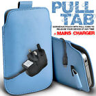 LEATHER PULL TAB POUCH CASE COVER & MAINS CHARGER FOR VARIOUS ORANGE MOBILES