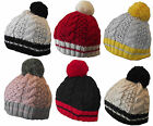 X80 GIRLS LADIES RETRO FUNKY MULTI COLOUR DESIGNER CABLE KNIT BEANIE BOBBLE HAT