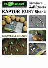 Korda KAPTOR KURV SHANK *GRAVEL BROWN* Hooks for Carp Fishing Coarse Fishing
