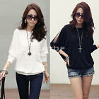 Fashion Women's Long Lace Sleeve Loose T-Shirt Batwing Tops Blouses Black White