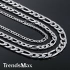 5/7/9mm Boys Mens Chain Silver Tone Stainless Steel Figaro Link Necklace 18-36''