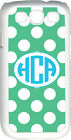 Circle Monogram Teal Green and White Polka Dot Samsung Galaxy S3 Case Cover