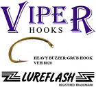 BULK 1000 Fly Hooks - HEAVY BUZZER/GRUB - Chemically Sharpened (BVP8020/..)