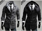 NEW-Noble men fashion horn button hooded casual jacket coat ( removable hat )
