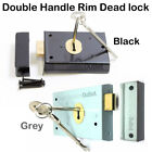 "Grey or Black Rim Dead Lock  4"" x 3"" - Double Handed for Shed or Garage Doors"